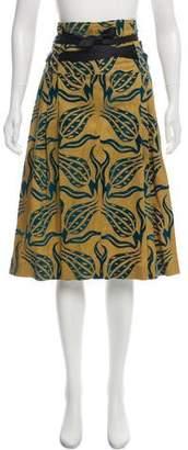Dries Van Noten Print Linen Skirt