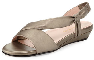 Taryn Rose Ion Leather Demi-Wedge Sandal, Quartz $235 thestylecure.com