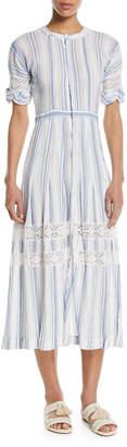 LoveShackFancy Eden Striped Cotton Short-Sleeve Coverup Midi Dress