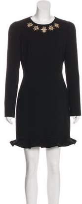 Alexander McQueen Embellished Virgin Wool Dress
