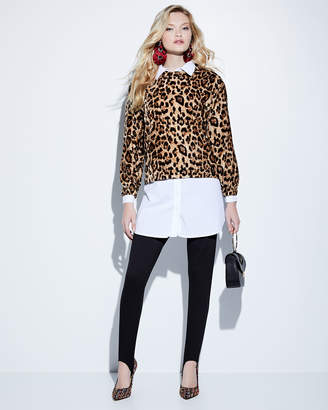 Velvet by Graham & Spencer Velvet Leopard-Print Long-Sleeve Top