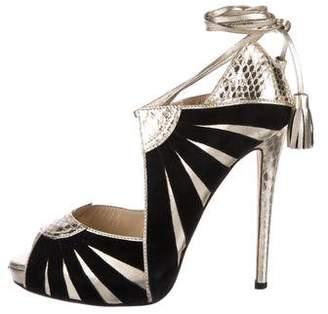 Chrissie Morris Metallic Lace-Up Heels
