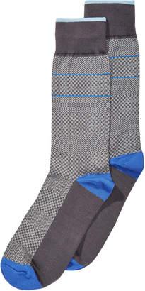 Perry Ellis Men's Microfiber Herringbone Dress Socks