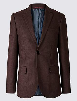 Marks and Spencer Burgundy Textured Tailored Fit Jacket