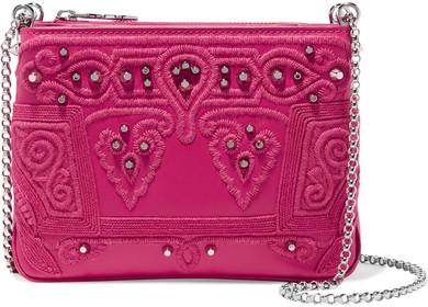 Christian Louboutin Christian Louboutin - Triloubi Studded Embroidered Leather Shoulder Bag - Pink