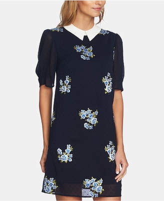 CeCe Puff-Sleeve Embroidered Dress