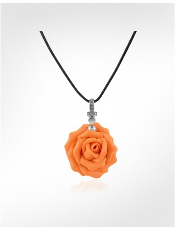 Forzieri Hand Made Rose Sterling Silver Pendant w/Lace