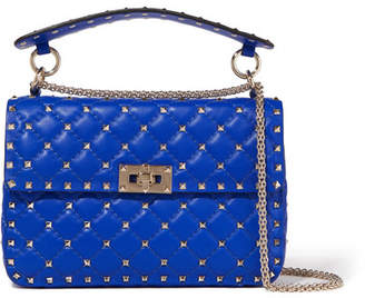 Valentino Garavani The Rockstud Spike Medium Quilted Leather Shoulder Bag - Bright blue