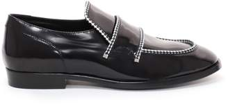 Jimmy Choo TALIB Black Shiny Calf Loafers with White Rope Binding