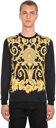 Versace Gold Hibiscus Printed Silk Sweater