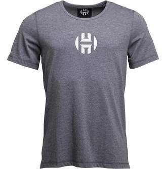 adidas Mens Harden Logo Short Sleeve T-Shirt Dark Grey Heather
