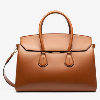 Bally Saphyr Brown, Women's plain calf leather top handle bag in tan