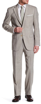 Hart Schaffner Marx Tan Woven Two Button Notch Lapel Wool Suit $795 thestylecure.com