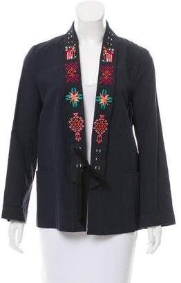 Giada Forte Embroidered Linen-Blend Jacket w/ Tags