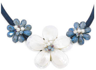 Blue Mother Of Pearl Crystal Flower Necklace