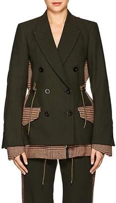 Sacai Women's Wool-Paneled Checked Blazer
