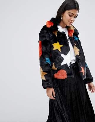 Glamorous star print faux fur cropped jacket