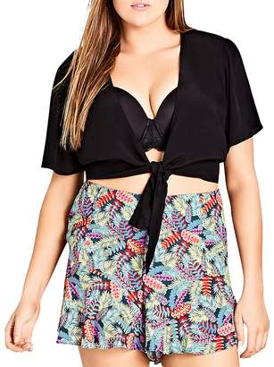 City Chic Plus Tie-Front Cropped Top
