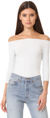 Helmut Lang Off Shoulder Long Sleeve Tee $160 thestylecure.com