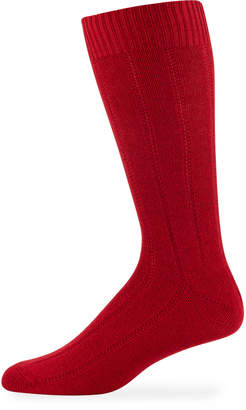 Neiman Marcus Men's Cashmere Dress Socks, Red