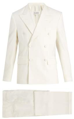 Maison Margiela Peak Lapel Double Breasted Wool Blend Suit - Mens - White