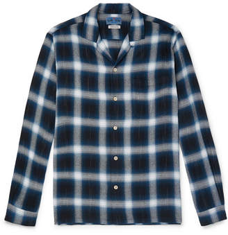 Blue Blue Japan Camp-Collar Checked Flannel Shirt