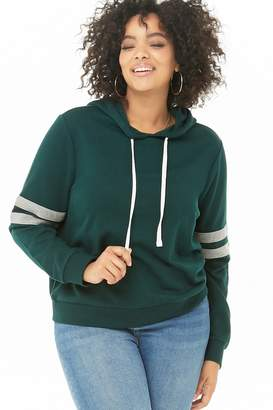 Forever 21 Plus Size Varsity Striped Hoodie