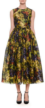 Dolce & Gabbana Sleeveless Fit-and-Flare Grape-Print Cocktail Dress
