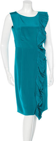 prada Prada Ruffle-Accented Silk Dress