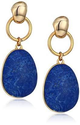 Halston H Women's Reversible and Gold Hoop Drop Earrings
