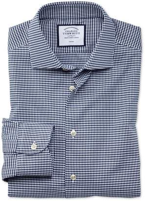Charles Tyrwhitt Slim Fit Business Casual Non-Iron Navy Oval Dobby Cotton Dress Shirt Single Cuff Size 14.5/32