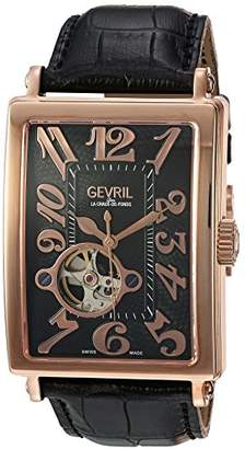 Gevril Avenue of Americas Men's Swiss-Automatic Open Heart Rectangle Face Black Leather Strap Watch