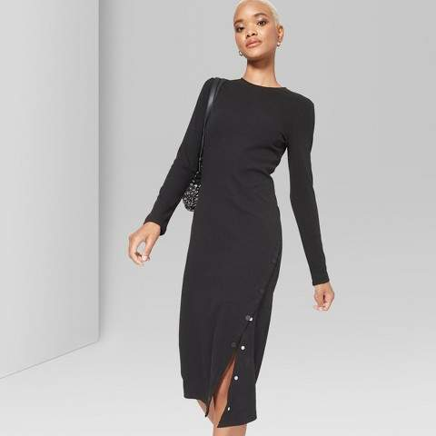 Wild Fable Women's Long Sleeve Ribbed Knit Solid Midi Dress - Wild Fable Black