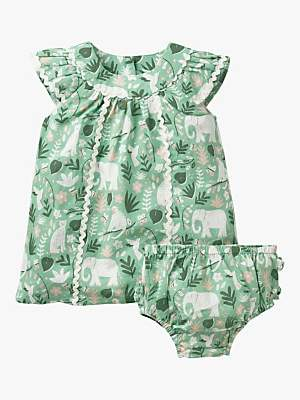 Boden Mini Baby Tropical Print Dress and Knickers Set, Turtle Green Garden