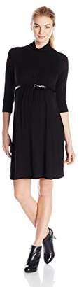 Three Seasons Maternity Women's Maternity 3/4 Sleeve Mock Solid Dress