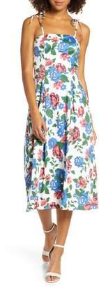 Charles Henry Floral Print Tie Strap Midi Sundress