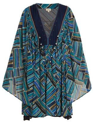 Talitha - Painted Jasmin Graphic Print Silk Chiffon Dress - Womens - Blue Multi