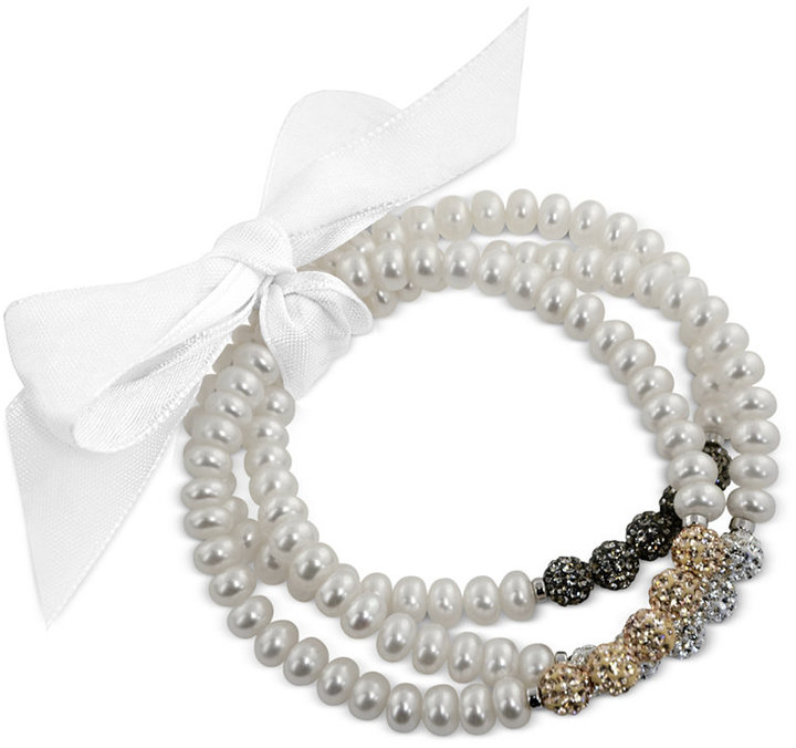 Honora Style Cultured Freshwater Pearl (6mm) and Crystal Bead Bracelet Set in Sterling Silver