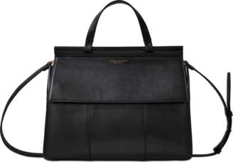 Tory Burch Block T Satchel Bag in Black Lambskin Leather
