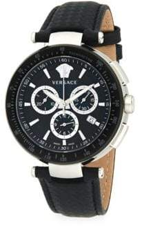 Versace Round Stainless Steel & Woven Leather-Strap Watch