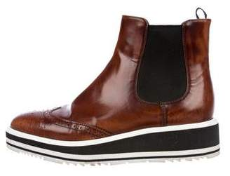 Prada Brogue Flatform Ankle Boots