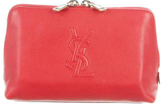 Yves Saint Laurent Leather Logo Cosmetic Pouch