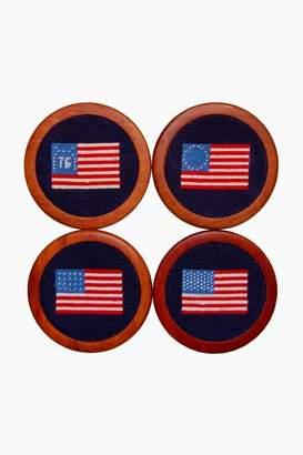 Smathers and Branson American Flag Needlepoint Coaster Set