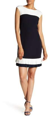 Sandra Darren Colorblock Ruffle Hem Dress