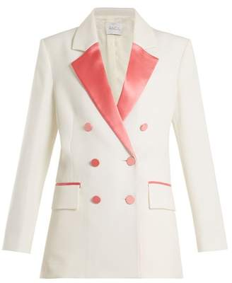 Racil - Paris Double Breasted Contrast Lapel Wool Blazer - Womens - Pink White