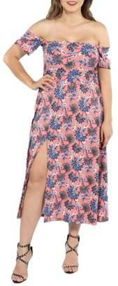 24/7 Comfort Apparel 24Seven Comfort Apparel Nina Pink and Blue Floral Plus Size Side Slit Dress