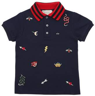 Gucci Animals Embroidered Cotton Piqué Polo