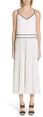 Lafayette 148 New York Silk Pleated Skirt Midi Dress