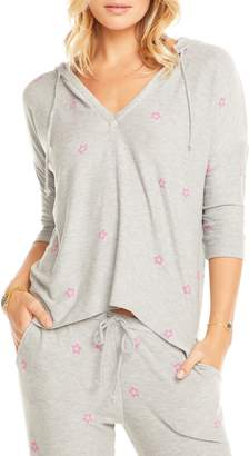 Chaser Pink Stars Cozy Knit Hoodie