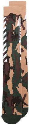 Off-White green, nude and brown camouflage print socks